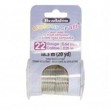 Beadalon® ColourCraft® vielutė 22 Gauge/.025in/0.64mm sidabro spalvos (18m/20yd)