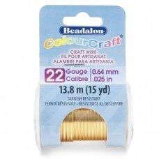 Beadalon® ColourCraft® vielutė 22 Gauge/.025in/0.64mm šviesaus žalvario spalvos (18m/20yd)