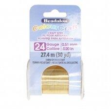 Beadalon® ColourCraft® vielutė 24 Gauge/.020in/0.51mm aukso spalvos (27m/30yd)