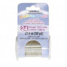 Beadalon® ColourCraft® vielutė 24 Gauge/.020in/0.51mm sidabro spalvos (27m/30yd)