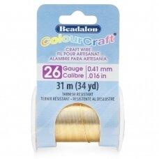 Beadalon® ColourCraft® vielutė 26 Gauge/.016in/0.41mm šviesaus žalvario spalvos (31m/34yd)