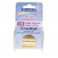 Beadalon® ColourCraft® vielutė 28 Gauge/.013in/0.32mm aukso spalvos (36.5m/40yd)
