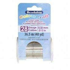 Beadalon® ColourCraft® vielutė 28 Gauge/.013in/0.32mm sidabro spalvos (36.5m/40yd)