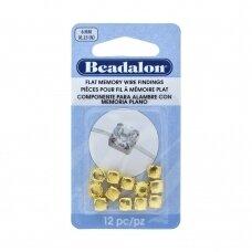 Beadalon® detalės plokščiai vielutei su atimintimi 6mm aukso spalvos (12 vnt)