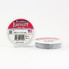 Beadalon® Elasticity™ įtempiama virvelė 0.5mm Satin Silver (sidabro spalvos) (25m)