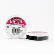 Beadalon® Elasticity™ įtempiama virvelė 1mm Black (juoda) (25m)