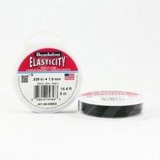 Beadalon® Elasticity™ įtempiama virvelė 1mm Black (juoda) (5m)