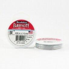 Beadalon® Elasticity™ įtempiama virvelė 1mm Satin Silver (sidabro spalvos) (5m)