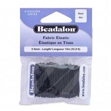 Beadalon® elastinė virvelė padengta medžiaga .024in/0.6mm juoda (10m/32.8ft)