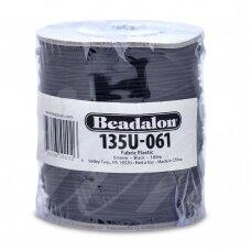 Beadalon® elastinė virvelė padengta medžiaga .024in/0.6mm juoda (91m/300ft)