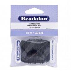 Beadalon® elastinė virvelė padengta medžiaga .039in/1mm juoda (10m/32.8ft)