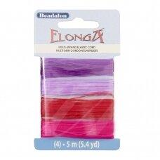 Beadalon® Elonga™ įtempiama virvelė .028in/0.7mm alyvinė, violetinė, raudona, rožinė (5m/16ft kiekviena)