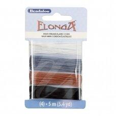 Beadalon® Elonga™ įtempiama virvelė .028in/0.7mm juoda, ruda, pilka, skaidri (5m/16ft kiekviena)