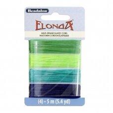 Beadalon® Elonga™ įtempiama virvelė .028in/0.7mm žalia, šviesiai žalia, šviesiai mėlyna, mėlyna (5m/16ft each)