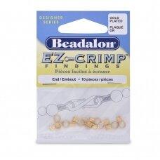Beadalon® EZ-Crimp™ užbaigimo detalės 8.5mm aukso spalvos (10 vnt)