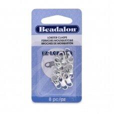 Beadalon® EZ-Lobster™ užsegimai vidutiniai (Medium) 15mm padengti sidabru (8 vnt)