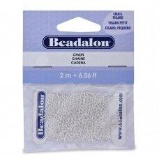 Beadalon® Figaro pynimo smulki grandinėlė .087in/2.2mm padengta sidabru (2m/6.56ft)