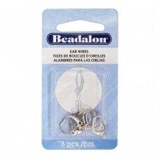 Beadalon® Fleur De Lis užsegami auskarai su atviru žiedeliu padengti sidabru (6 vnt)