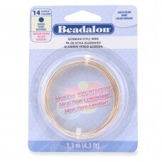 Beadalon® German Style apvali vielutė 14 Gauge/.060in/1.6mm aukso spalvos (1m/4ft)