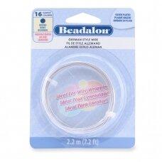 Beadalon® German Style apvali vielutė 16 Gauge/.050in/1.3mm padengta sidabru (2.2m/7.2ft)