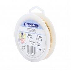 Beadalon® German Style apvali vielutė 18 Gauge/.040in/1.02mm aukso spalvos (15m/49ft)