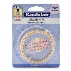 Beadalon® German Style apvali vielutė 18 Gauge/.040in/1.02mm aukso spalvos (4m/13ft)