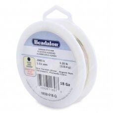 Beadalon® German Style apvali vielutė 18 Gauge/.040in/1.02mm padengta sidabru (15m/49ft)