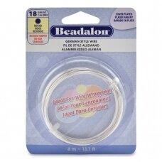 Beadalon® German Style apvali vielutė 18 Gauge/.040in/1.02mm padengta sidabru (4m/13ft)