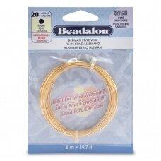 Beadalon® German Style apvali vielutė 20 Gauge/.032in/0.81mm aukso spalvos (6m/19.7ft)