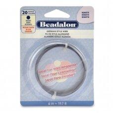 Beadalon® German Style apvali vielutė 20 Gauge/.032in/0.81mm Hematite (6m/19.7ft)