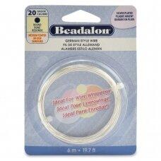 Beadalon® German Style apvali vielutė 20 Gauge/.032in/0.81mm padengta sidabru (6m/19.7ft)