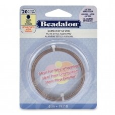 Beadalon® German Style apvali vielutė 20 Gauge/.032in/0.81mm sendinto žalvario spalvos (6m/19.7ft)