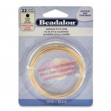 Beadalon® German Style apvali vielutė 22 Gauge/.025in/0.64mm aukso spalvos (10m/32.8ft)