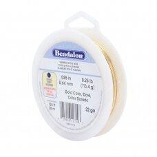 Beadalon® German Style apvali vielutė 22 Gauge/.025in/0.64mm aukso spalvos (38m/125ft)