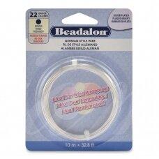 Beadalon® German Style apvali vielutė 22 Gauge/.025in/0.64mm padengta sidabru (10m/32.8ft)