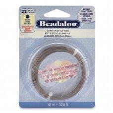 Beadalon® German Style apvali vielutė 22 Gauge/.025in/0.64mm sendinto žalvario spalvos (10m/32.8ft)
