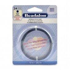 Beadalon® German Style apvali vielutė 24 Gauge/.020in/0.51mm Hematite (12m/39ft)