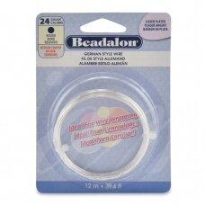 Beadalon® German Style apvali vielutė 24 Gauge/.020in/0.51mm padengta sidabru (12m/39ft)