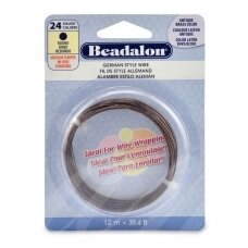 Beadalon® German Style apvali vielutė 24 Gauge/.020in/0.51mm sendinto žalvario spalvos (12m/39ft)