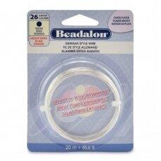 Beadalon® German Style apvali vielutė 26 Gauge/.016in/0.41mm padengta sidabru (20m/65.6ft)