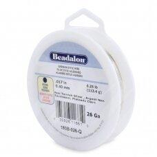 Beadalon® German Style apvali vielutė 26 Gauge/.016in/0.41mm padengta sidabru (96m/315ft)