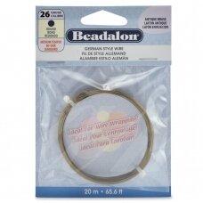 Beadalon® German Style apvali vielutė 26 Gauge/.016in/0.41mm sendinto žalvario spalvos (20m/65.6ft)