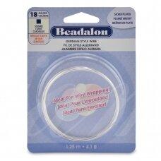 Beadalon® German Style kvadratinė vielutė 18 Gauge/.040in/1.02mm padengta sidabru (1m/4ft)