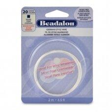 Beadalon® German Style kvadratinė vielutė 20 Gauge/.032in/0.81mm padengta sidabru (2m/6.5ft)