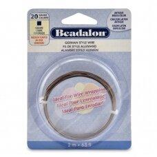 Beadalon® German Style kvadratinė vielutė 20 Gauge/.032in/0.81mm sendinto žalvario spalvos (2m/6.5ft)