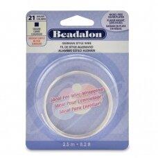 Beadalon® German Style kvadratinė vielutė 21 Gauge/.028in/0.72mm padengta sidabru (2.5m/8ft)