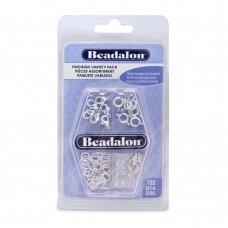 Beadalon® įvairių detalių rinkinys padengtos sidabru (132 vnt)