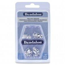 Beadalon® įvairių suspaudžiamų laikiklių rinkinys padengti sidabru (18 vnt)