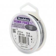 Beadalon® Kink Free™ titano spalvos vielutė karoliukų vėrimui .015in/0.38mm (3m/10ft)