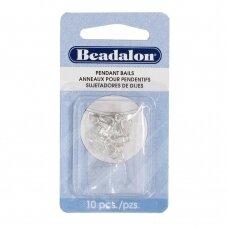 Beadalon® laikikliai su kilpute 10mm padengti sidabru (10 vnt)